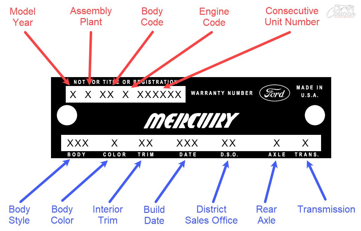 1967-69 Warranty Plate