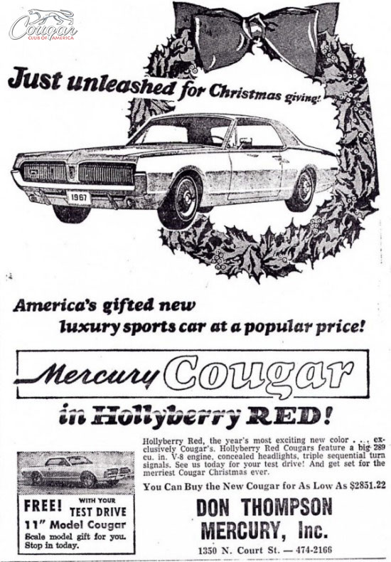 1967 Cougar Hollyberry Red Ad