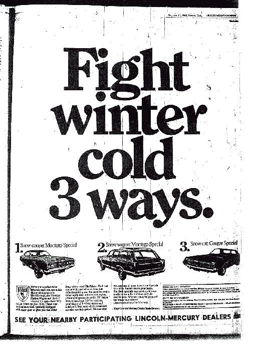 1969 Cougar Snow-Pac Special Ad