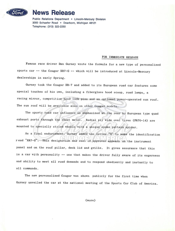 1968 Mercury Cougar XR7-G Press Release