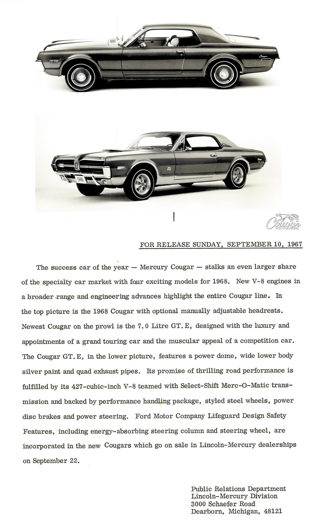1968 Mercury Cougar GT-E Press Release