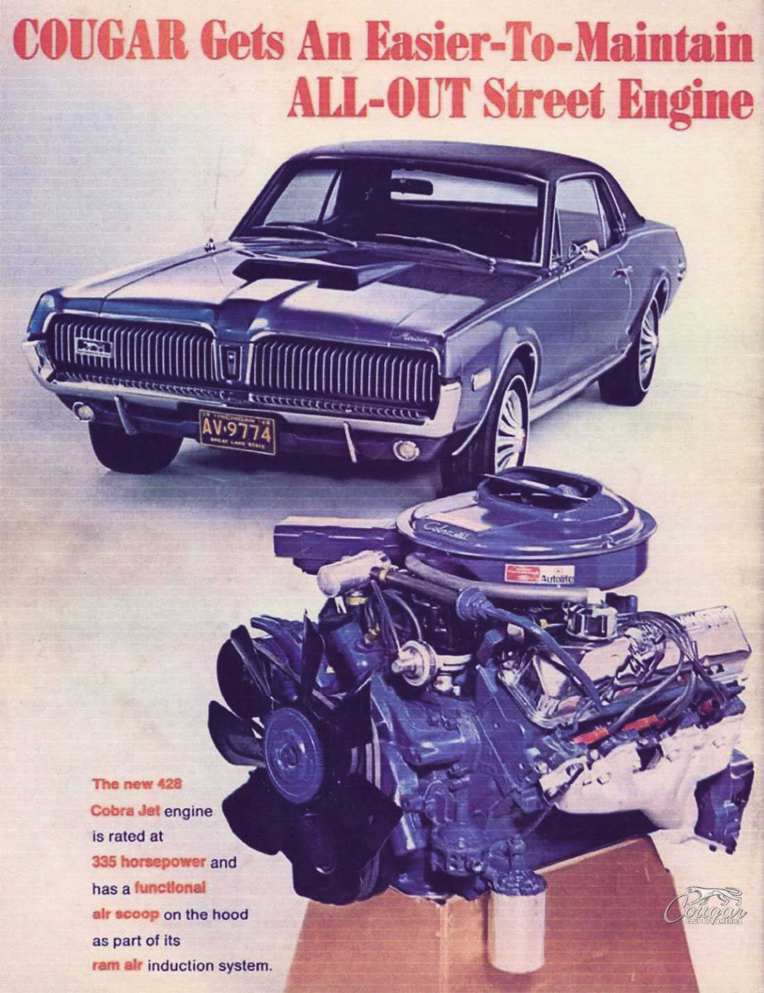 1968 Mercury Cougar R-Code Option Ad from American Rodding