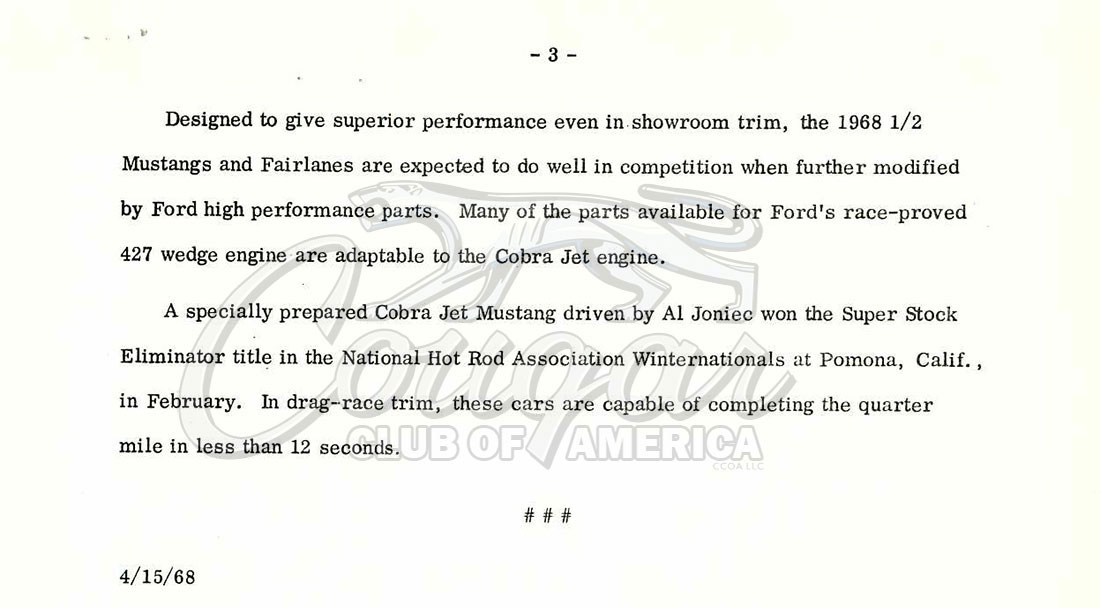 Ford Press Release for the 428 Cobra Jet Engine 04-15-1968
