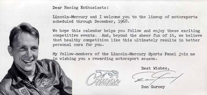 1968 Dan Gurney Lincoln-Mercury Racing Promo