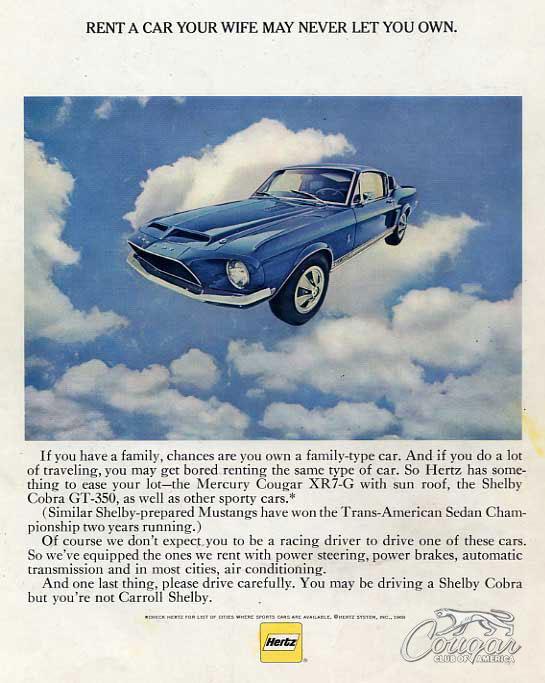 Hertz 1968 Mercury Cougar XR7-G Advertisement
