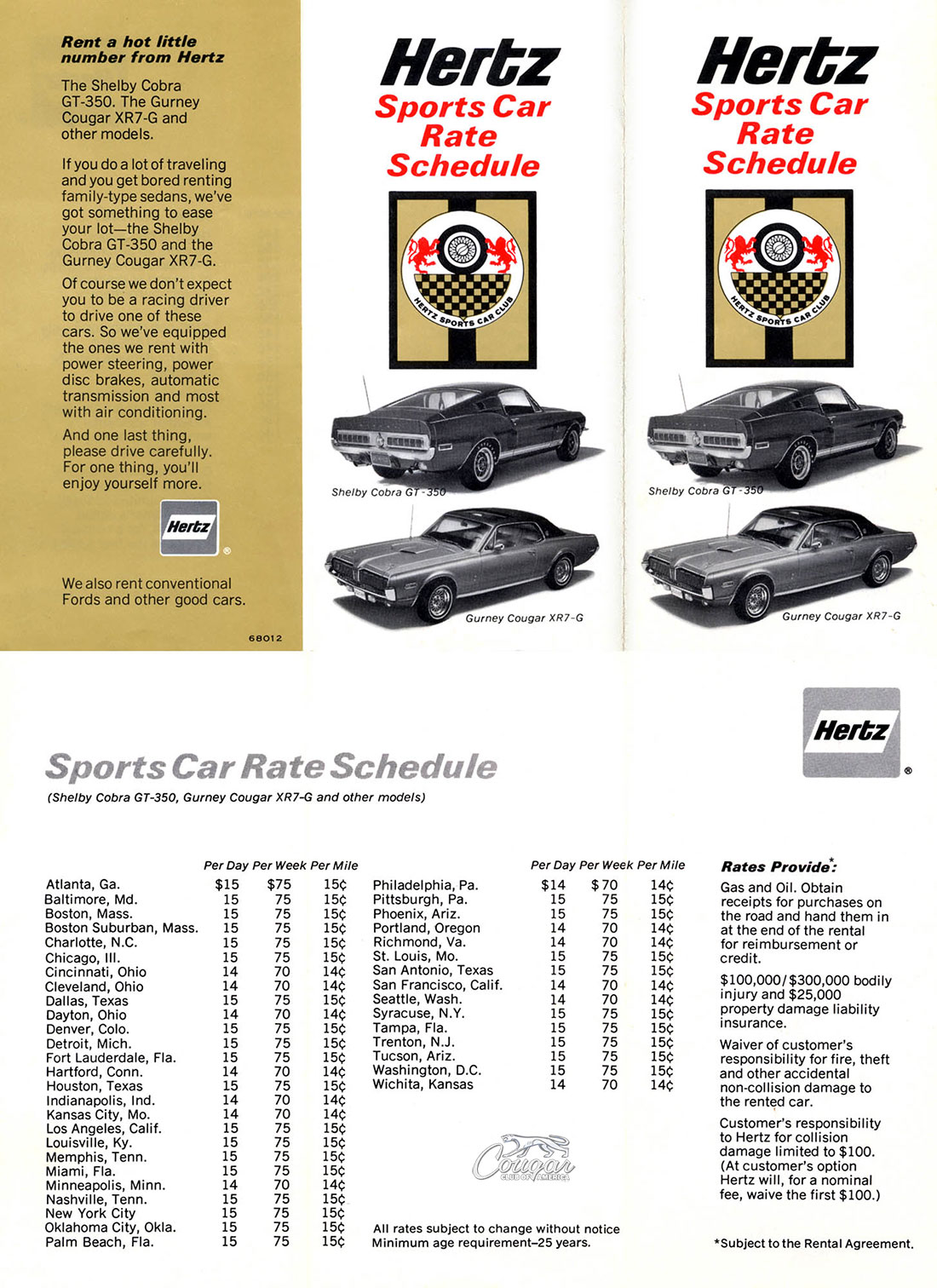 Hertz Car Rate for the 1969 Mercury Cougar XR7-G