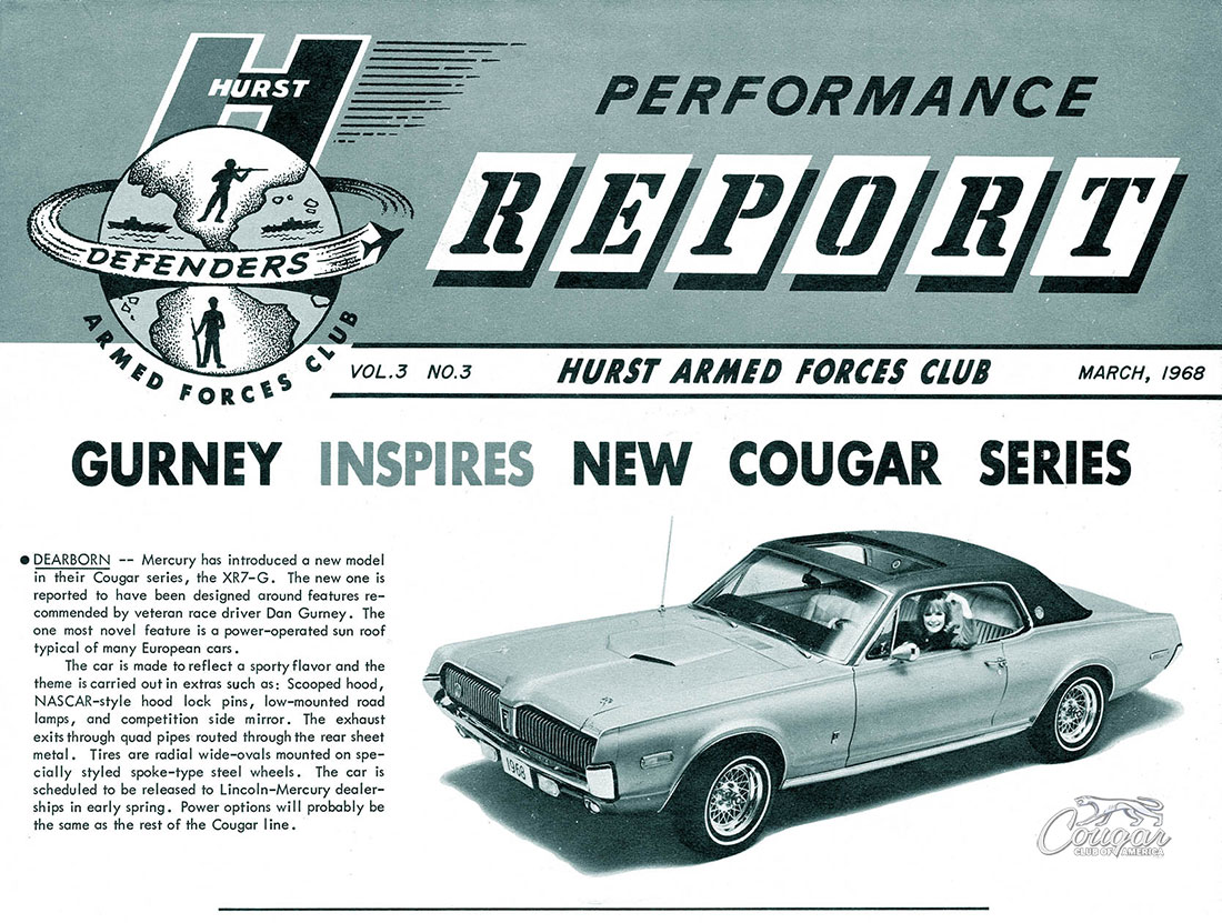 Hurst Armed Forces Club Performance Report 1968 Mercury Cougar XR7-G