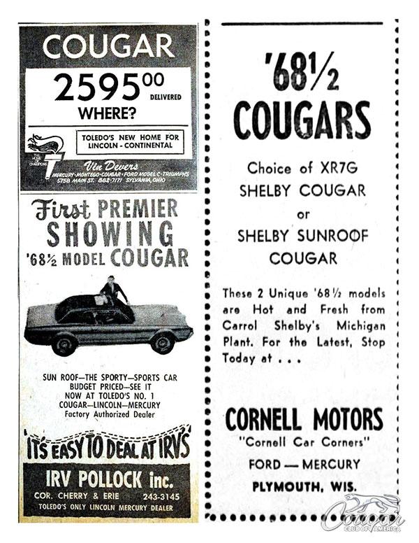 1968 Mercury Cougar XR7-G Ad Cornell Motors
