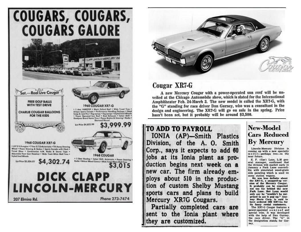 1968 Mercury Cougar XR7-G Newspaper Ads