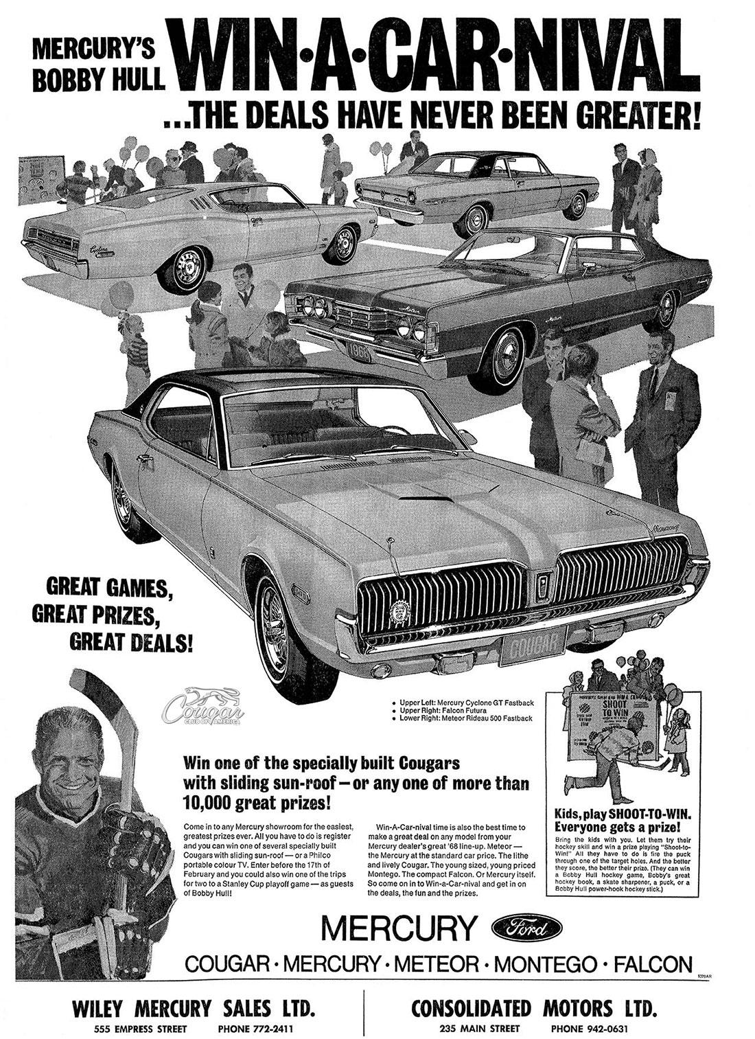 1968 Mercury Cougar XR7-G Ad Win A Car-nival