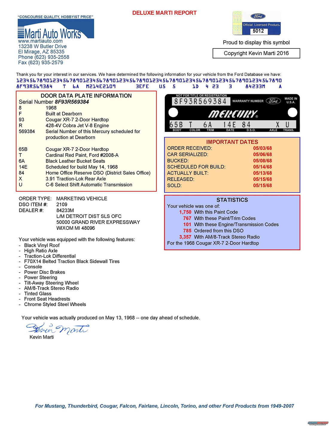 1968 Mercury Cougar R-Code Option Marti Report