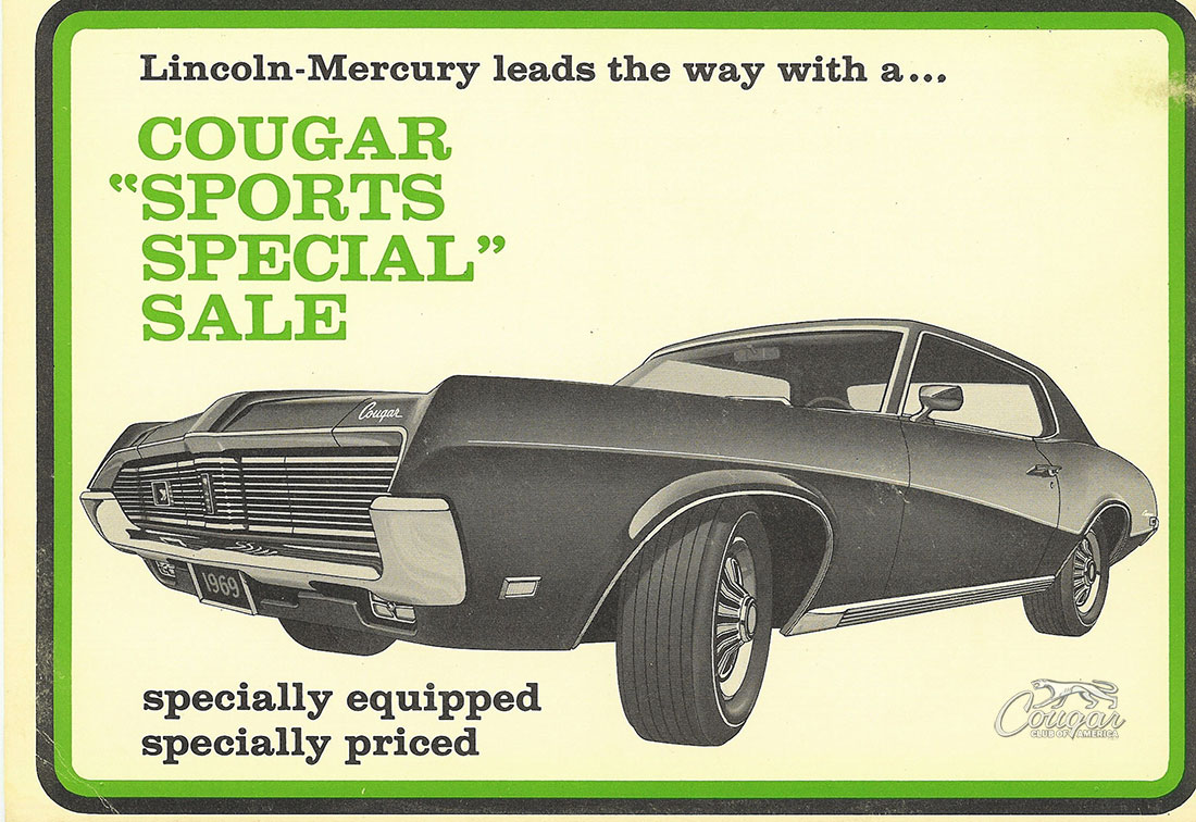 1969 Mercury Cougar Sports Special Postcard Front