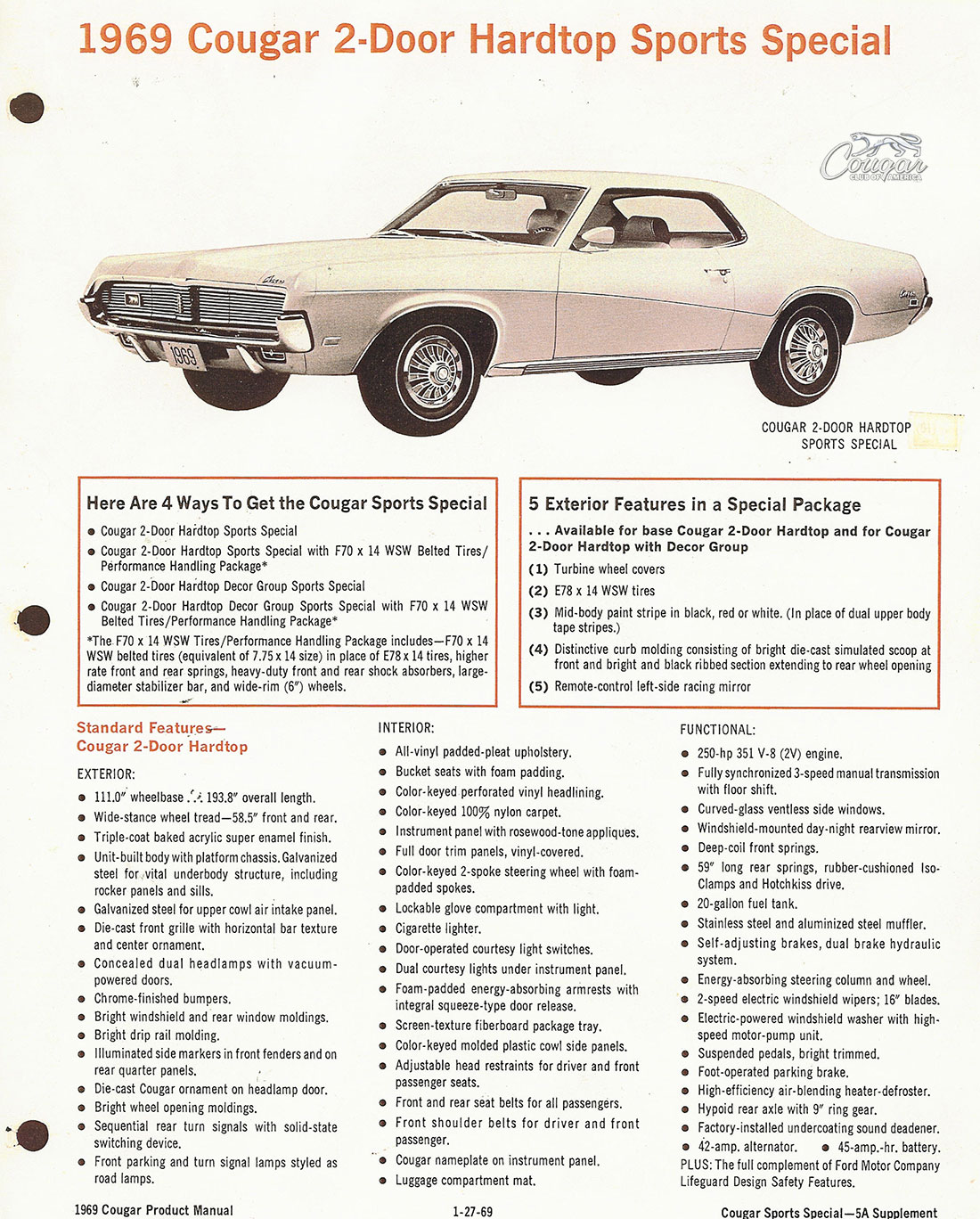 1969 Mercury Cougar Sports Special Product Manual Supplement Page 1 of 2