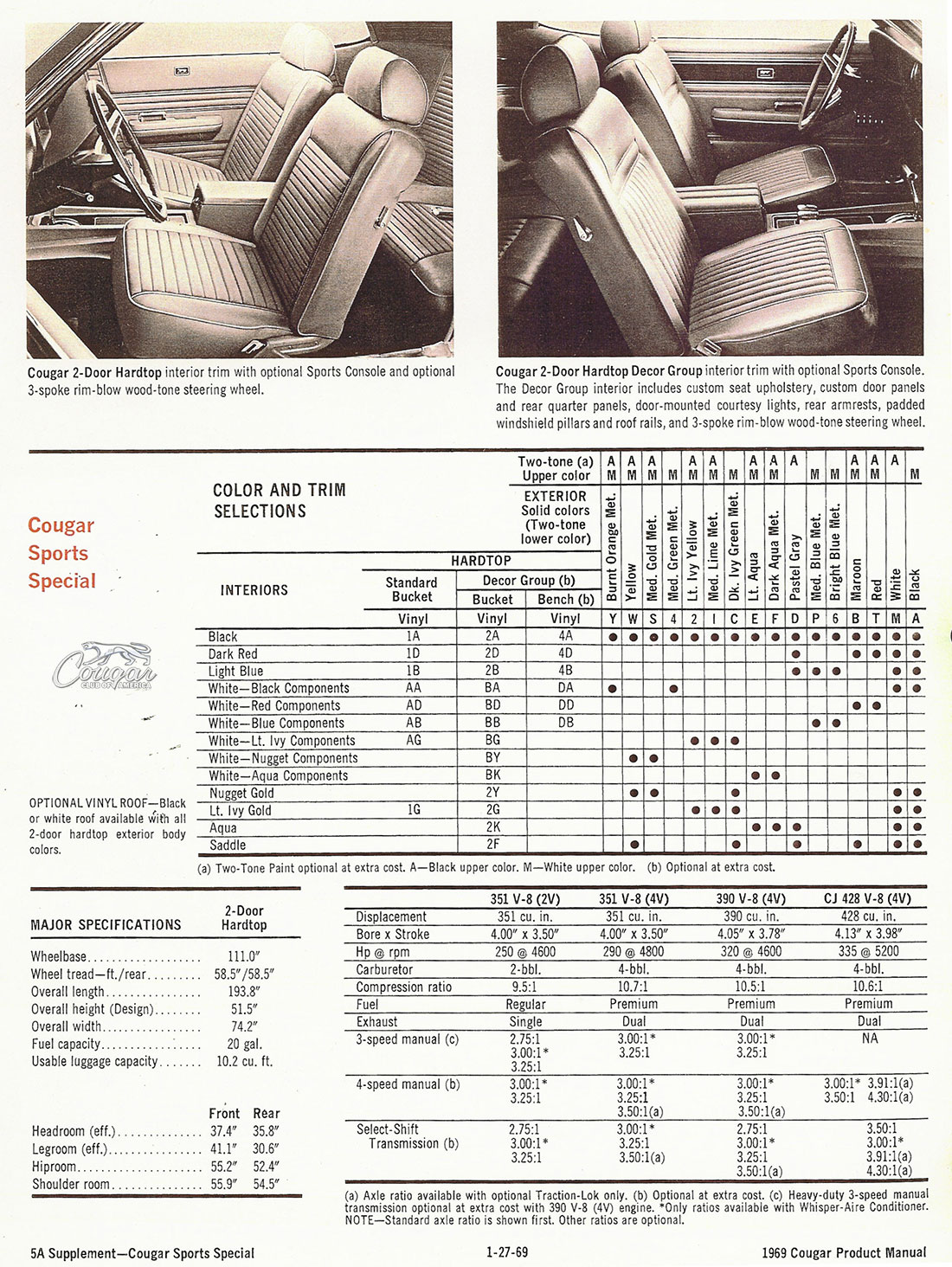 1969 Mercury Cougar Sports Special Product Manual Supplement Page 2 of 2
