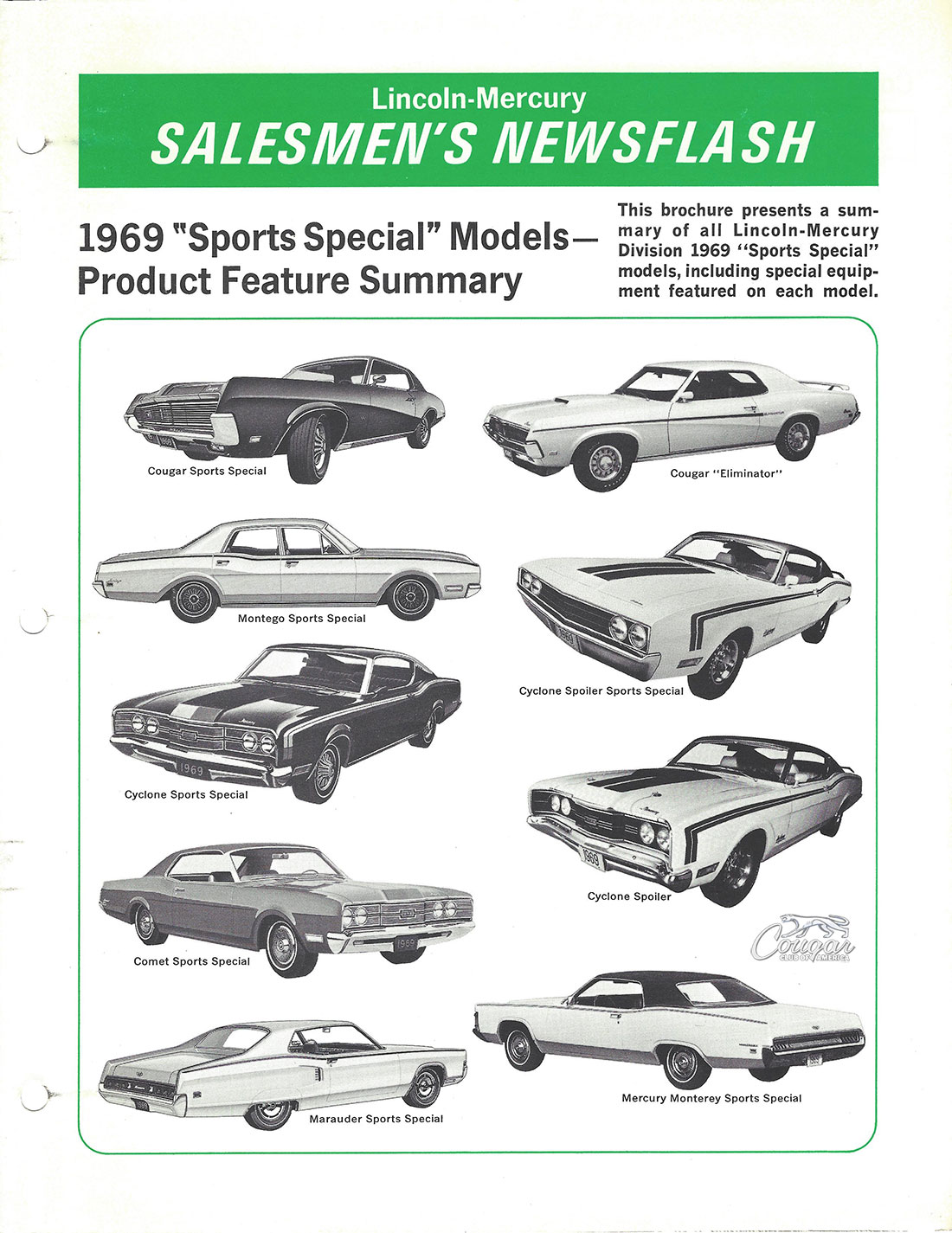 1969 Mercury Cougar Sports Special Lincoln-Mercury Salesmen's Newsflash