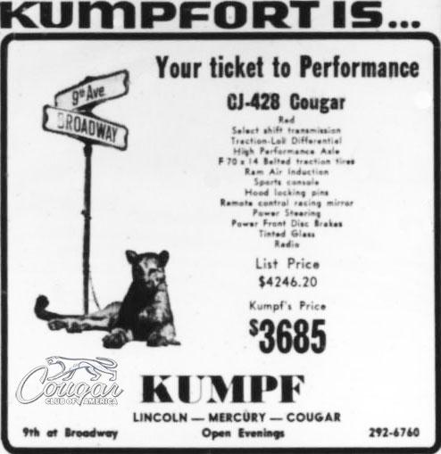1969 Kumpf / Kenz & Leslie Special Mercury Cougar Ad