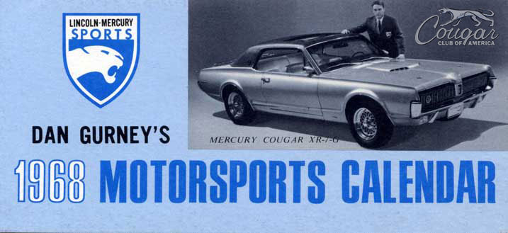1968 Mercury Cougar XR7-G Prototype LM Calendar Blue