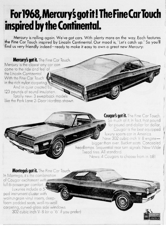 1968 Mercury Cougar 500 Ad