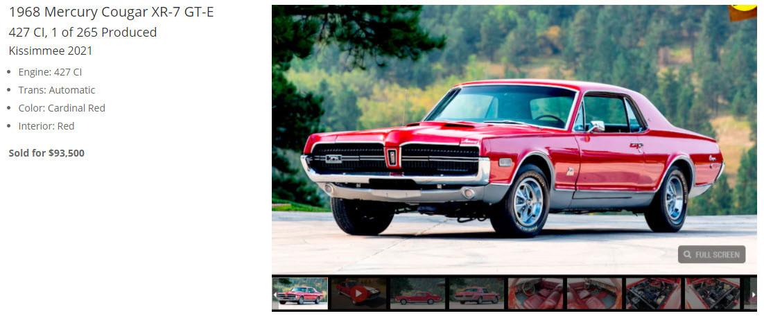 Mecum Auctions 1968 Mercury Cougar GT-E