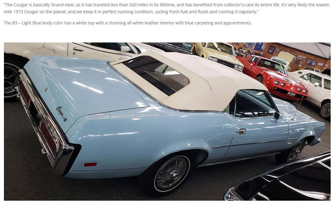 Unique Cougars 1973 Mercury Cougar XR-7 Convertible
